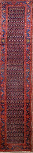 Rug Source One-of-A-Kind Nahavand Geometric Hand-Knotted 3x17 Blue Wool Antique Persian Runner Rug (16' 9
