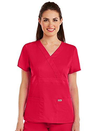 Greys Anatomy 4153 Womens Mock Wrap Top Scarlet Red M