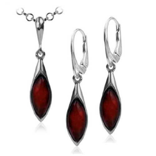 Sterling-Silver-Red-Dark-Amber-Earrings-Necklace-Set-18-Inches