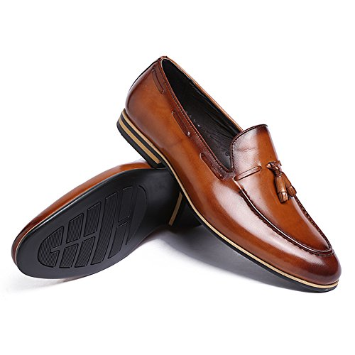 Mens Santimon Shoes Shoes AN1511 loafer Causal pendant Brown Penny Tassel Leather Leisure 7rxBrdqw