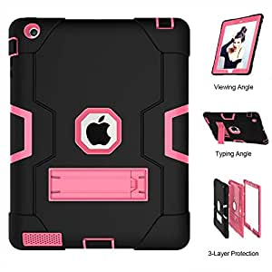 black and red color Rubber Shockproof Heavy Duty Tough Cover Smart Case For Apple iPad 2 3 4/9.7 Inch [awdsales]