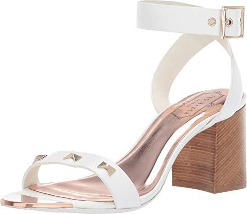 (Ted Baker Women's BIAH Heeled Sandal White Leather 9 M US)