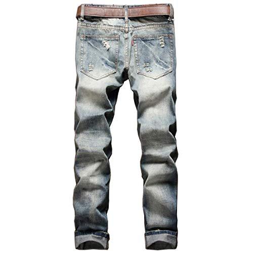 Semplice Moda Pantaloni Media Lunghi Uomo Jeans Denier A Elasticizzati Strappati Stile Vita Da Sottili Vintage Denim Blu qCX768