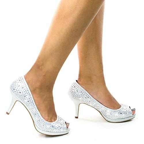 Peep Toe Rhinestone (City Classified Frank Comfort Soft Foam Peep Toe Glitter Rhinestones, High Heel Dress Pump,Silver,9)