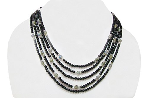 Multi Strand Black Spinel & Labradorite Round Beads Necklace 16