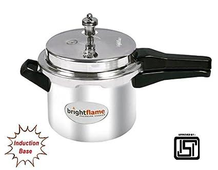 Bright Flame BF3PCIB Alluminum Kitchen Essentials BrightFlame Induction Pressure Cooker 3Liters, Silver