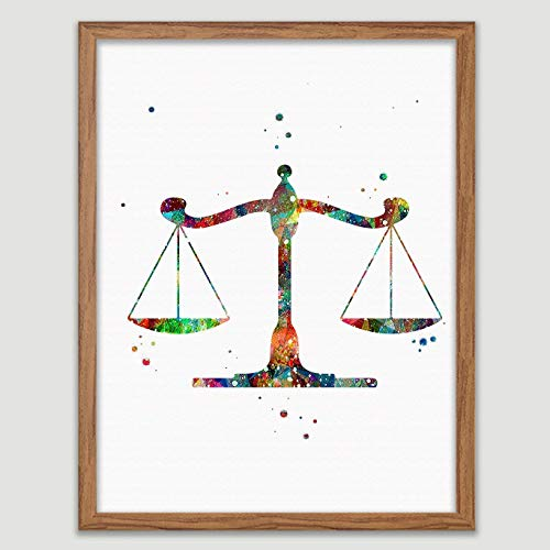 Scales of Justice Watercolor Poster Law Student Art Gavel Print Lawyer Office Decor Scales of Justice Wall Art Judge Law Wall Hanging Lawyer Gift