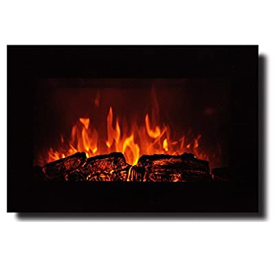 "Homeleader 35"" Electric Fireplace,Electric Fireplace Heater With Remote Control,Wall Mounter and Freestanding Fireplace,750/1500W, Black"