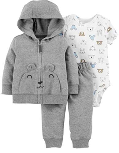 Carter's Baby Boys` 3-Piece Little Jacket Set (12 Months, Gray Multi)