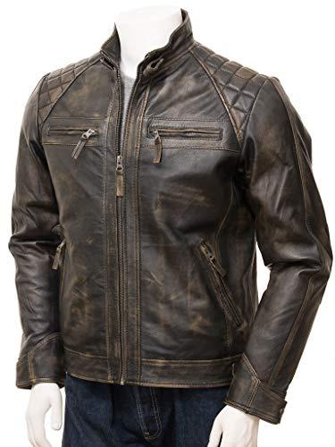 Cafe Racer Leather Jacket - Biker Distressed Real Leather Jacket - Brown Leather Outfit Jacket (Brown - Cafe Racer Classic Diamond Leather Jacket, XL/Body Chest 44