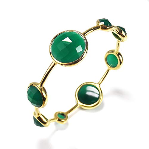 - AeraVida Faceted Bubble Reconstructed Agate Gold Plated Solid Brass Bangle Bracelet