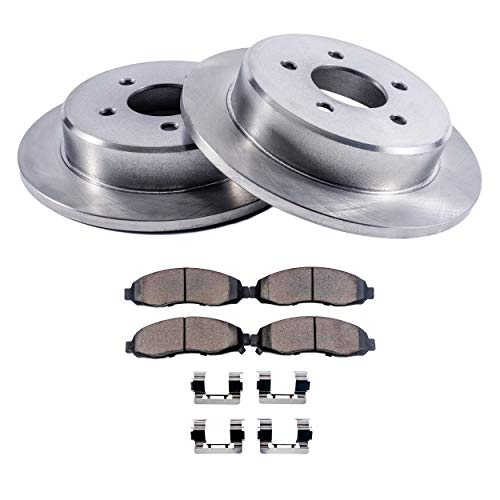 (Detroit Axle - REAR Brake Rotors & Brake Pads w/Clips Hardware Kit Premium GRADE for 2001-2007 Chrysler Town & Country - [2001-2007 Dodge Grand Caravan &)