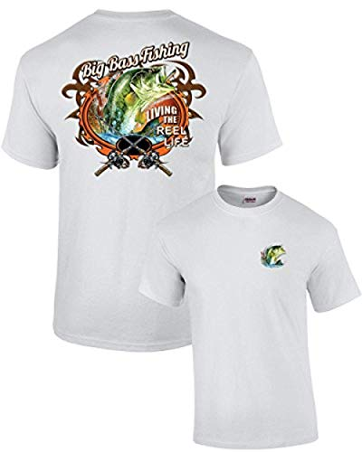 Fishing T-Shirt Big Bass Fishing-White-XL ()