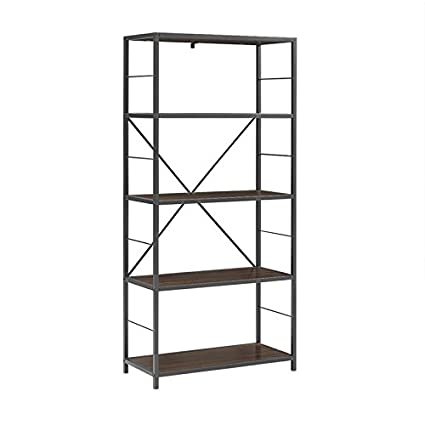 Pemberly Row 60quot Rustic Metal And Wood Media Bookshelf In Dark Walnut