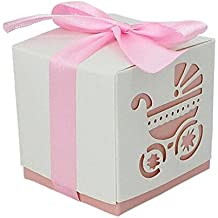 Since 50pcs Baby Carriage Printing DIY Paper Wedding Gift Christening Baby Shower Party Favor Boxes Candy Box with Ribbons (Pink)