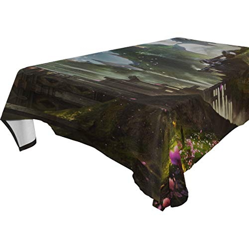 MAXM City Fantastic Futurism Rectangular Tablecloth for Dinner,Kitchen,Party,Picnic,Wedding,Restaurant Or Banquet Use,Fall,Holidays,Thanksgiving,Halloween,Christmas,tablecovers Spread,54x72 Inch