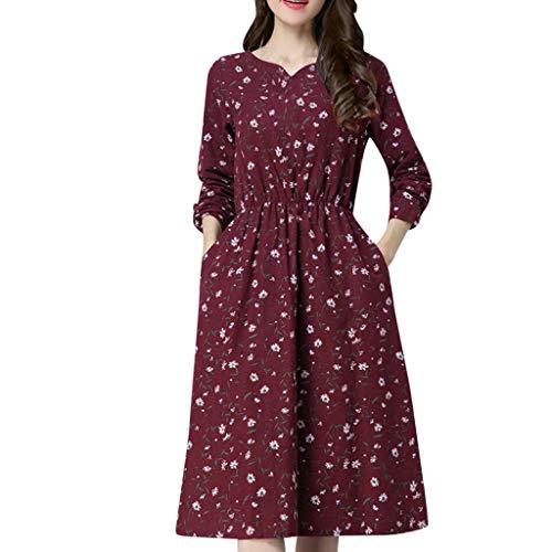 donna elegante e a floreale Stile maniche con in V Abito rosso scollo stampa scollo lunghe a stile RqPwxa0