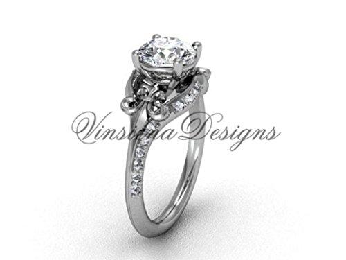 (Platinum Fleur de Lis, eternity engagement ring VD208125)