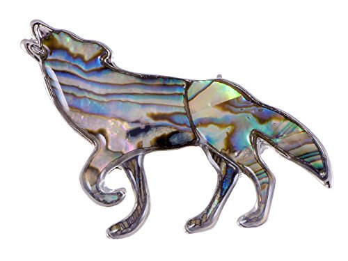 Alilang Silver Tone Abalone Multi Colored Stone Iridescent Wolf Coyote Brooch Pin