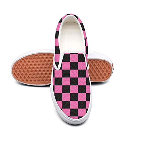 Vosda Black Pink Checkered Squares Classic Women's Canvas Slip-Ons Loafer Shoes Sneaker