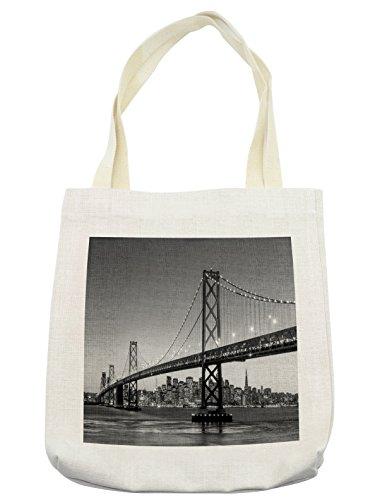 Lunarable City Tote Bag, Sun Setting View of San Francisco Bay Bridge California USA Tourist Attraction Image, Cloth Linen Reusable Bag for Shopping Groceries Books Beach Travel & More, (Tourist Costume Makeup)