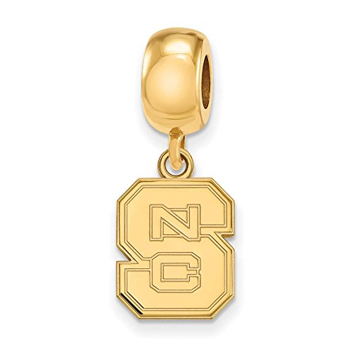 NC State Bead Charm Small (1/2 Inch) Dangle (Gold Plated) by LogoArt