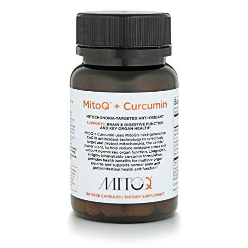 MitoQ+Curcumin 60 Capsules CoQ10 Antioxidant Supplement - MitoQ w/Super Bioavailable Longvida Curcumin Turmeric - Supports Brain, Digestive and Cellular Health