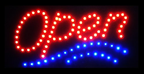 Pub Sign Shop - YBG Imports Ultra Bright LED OPEN Sign 2 COLORS Barber Shops Hair Salons Liquor Stores Bars Pub Cafe Coffee Shop Store Window Wall Flashing Animated Neon Sign Light On Off Switch Button Chain 19x10