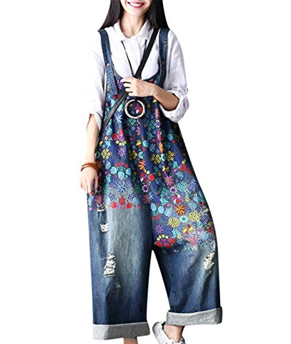 (YESNO PF1 Women Casual Loose Jeans Denim Jumpsuits Rompers Floral Printed Rompers Ripped Holes 100% Cotton Wide Leg Buttoned Waist (2XL, Cropped Type-Blue))