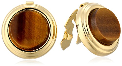 1928 Jewelry Unisex Gold-Tone Genuine Semi-Precious Tiger's Eye Round Button Cover
