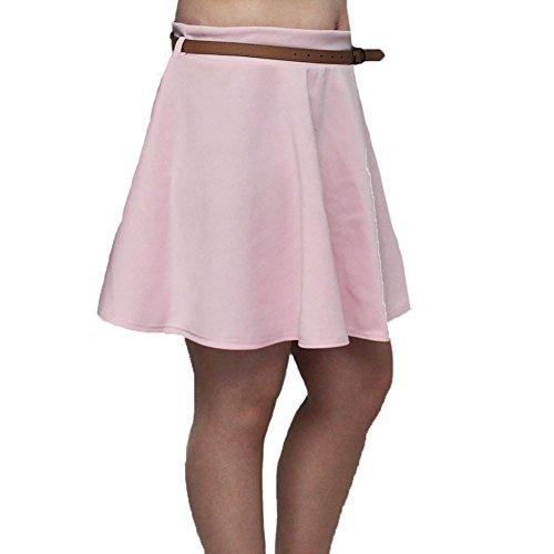 Femmes Ligne-A Jupe Style Patineuse avec Ceinture Pale Pink
