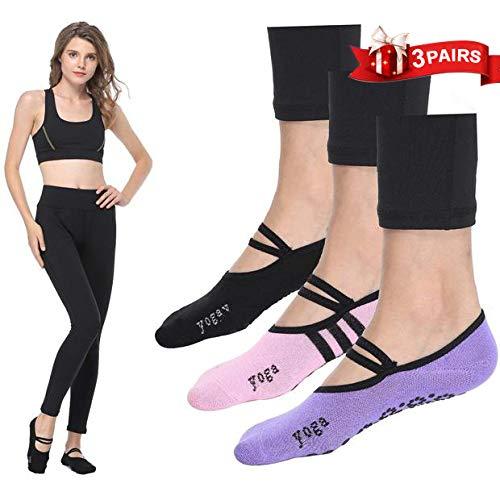 LaLaAreal Calcetines Pilates Yoga Antideslizantes Traspirable Mujer para Barra Ballet Danza (3 Par) product