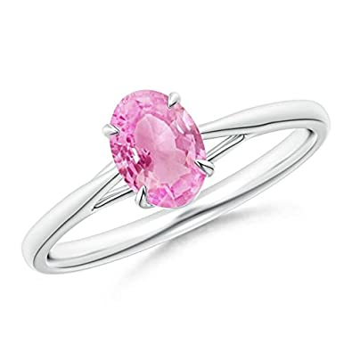 Angara 6 Prong Tapered Shank Oval Solitaire Pink Sapphire Ring in Platinum yedAv9eClL