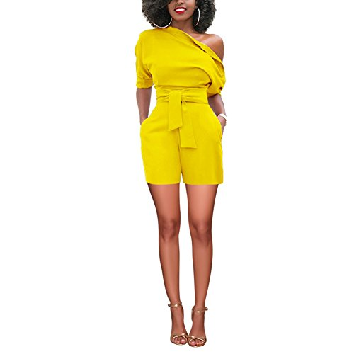 d429f486b716 Amazon.com  YOUCOO Sexy One Shoulder Solid Jumpsuits Romper Shorts with Belt   Clothing
