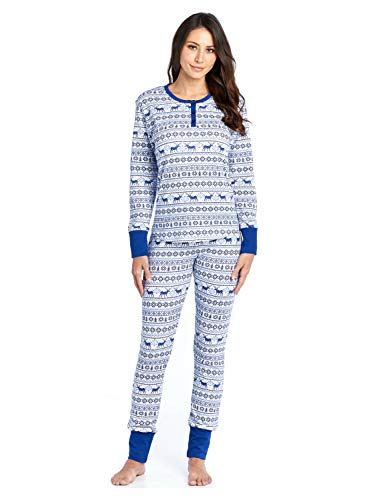 Ashford & Brooks Women's Printed Thermal Waffle Knit PJ Set - Blue Reindeer Fair Isle - XX-Large