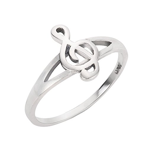 CloseoutWarehouse Sterling Silver Euphony Bliss Music Note Ring Size 6