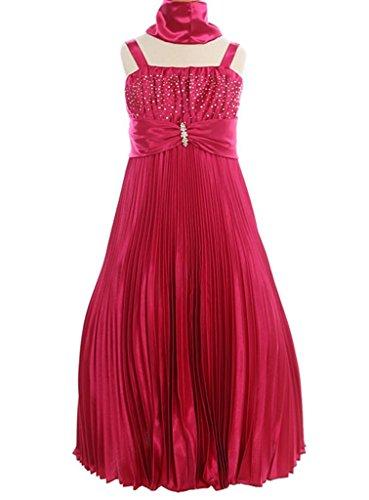 AkiDress Shiny Satin A-Line Dress with Shines & Rhinestone for Little Girl Fuchsia 16 ()