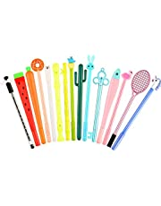 ICEBLUEOR 15 Pieces Cute Cartoon Gel Ink Pens Assorted Style Writing Pens for Home Office School Party Kids Gift, 15 Styles (Random Color)