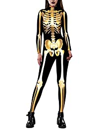 Women Halloween Costume Skeleton Print Bodycon Catsuit...