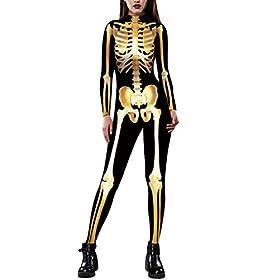 Fixmatti Women Halloween Party Costume Skull Print Long Sleeve Jumpsuit Outfit S Gold