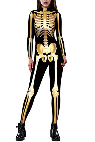 Selowin Women Skull Digital Printing Skelebones Tights Spandex Leggings Jumpsuit,Gold,Large
