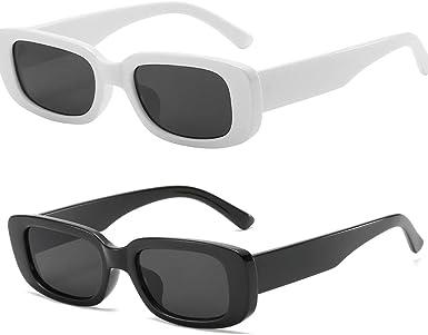 Soft Bag Womens Vintage Retro Rectangular Fashion Sunglasses Designer Shades