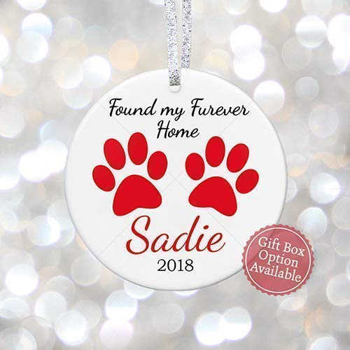Dogs First Christmas Ornament.Personalized Dog Gift For New Pet Dogs First Christmas Ornament For Dog Lover Pet Adoption Gift New Puppy Gift 3 Flat Circle Ceramic Ornament