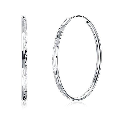 LEKANI 925 Sterling Silver Lightweight Design Diamond-Cut Dangle Circle Endless Hoop Earrings Jewelry Gifts for Women & -