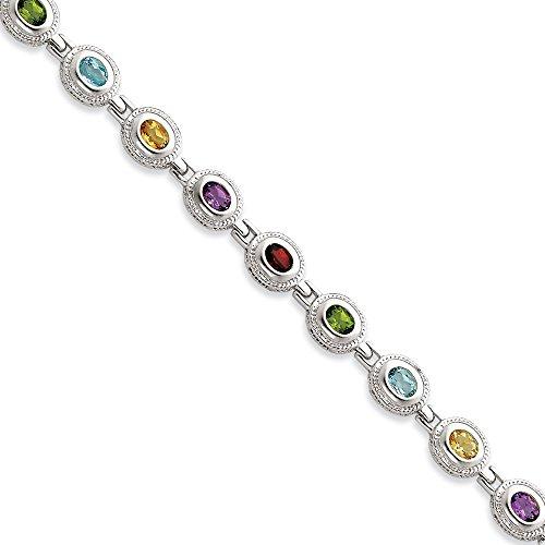 Arc-en-ciel en argent Sterling 925 Bracelet femme-Pierres Semi-précieuses - 7 JewelryWeb-mm-Fermoir