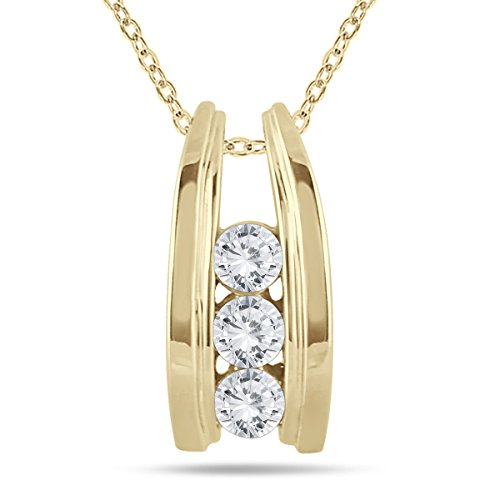 AGS Certified 1/2 Carat TW Three Stone Diamond Ladder Pendant in 10k Yellow Gold (K-L Color, I2-I3 Clarity)