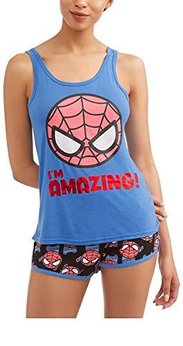Marvel Women's Spiderman 2 piece shorty pajama set, Blue/Black, Med