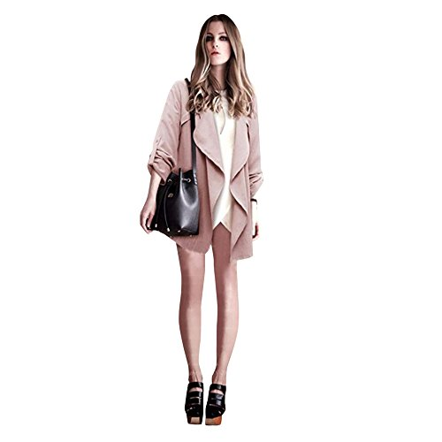 clearance sale!!ZEFOTIM Women Autumn Spring Solid Long Sleeve Loose Plus Coat Cardigan (US-20/CN-XXL,Pink)