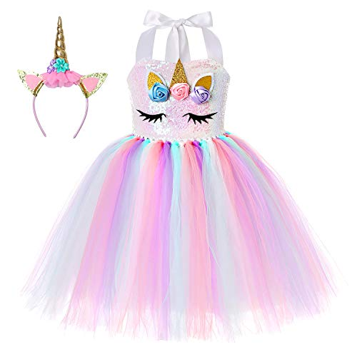 Cuteshower Girl Unicorn Costume, Baby Unicorn Tutu Dress Outfit Princess Party Costumes with Headband and Wings (9-10 Years, Rainbow Color) -