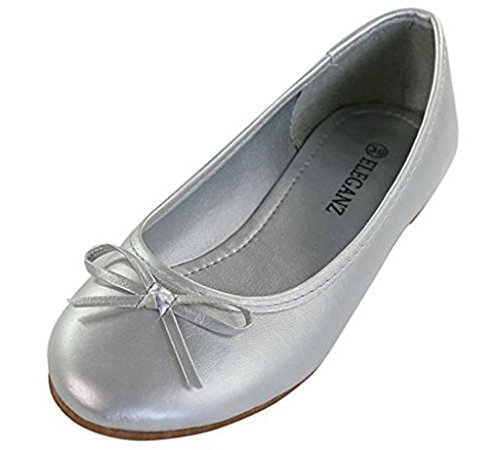 Maybest Womens Bow Dolly Flat Shoes Slippers Ballerina Ballet Pumps Flats ( Silver 6 B (M) US ) - Ballet Dolly